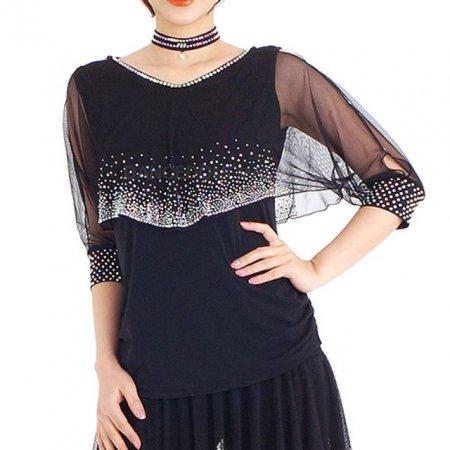 큐빅라인 포인트 여성 라틴댄스복 상의 7부티셔츠