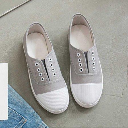 여성 하얀 끈없는 운동화 신발 보세 데이트 패션화