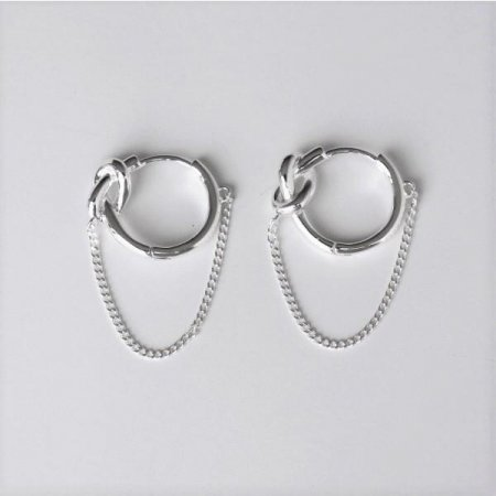 [Silver925] Knot chain earring