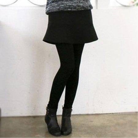 여성 겨울 패션 네오프렌 밍크털 안감 스커트 레깅스