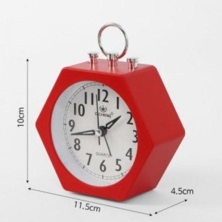 퀴리 육각 알람 탁상시계(레드)