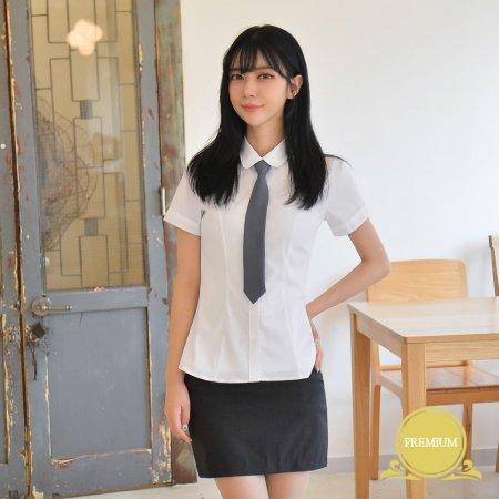 프리미엄 스판 여자 반팔 셔츠 (둥근카라)