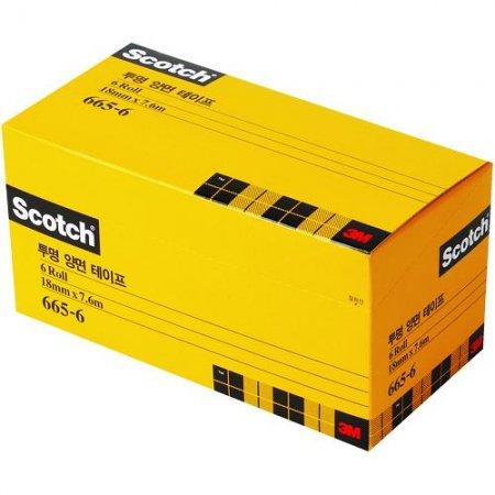 스카치 투명 양면테이프 오피스팩(665R-18/18mm*7.6M/3M)