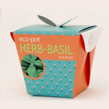 허브바질 미니화분 상자 꽃화분 홈가드닝 식물키우기