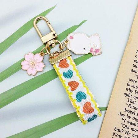 흰강아지 핑크벚꽃 하트스트랩 키홀더 열쇠고리
