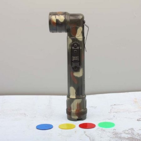 군용 후레쉬 4색 필터 포함 랜턴 손전등