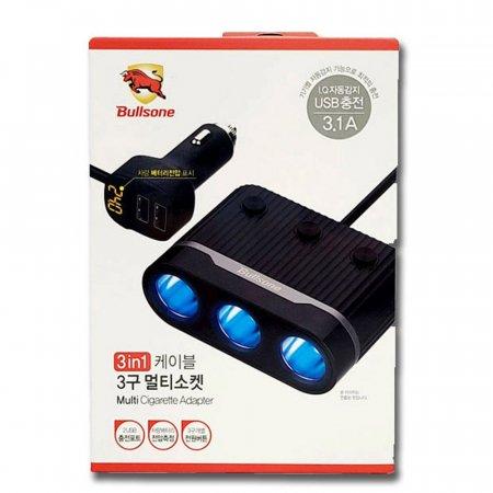3in1 케이블 3구 멀티소켓 시거팩 USB 충전기 포트