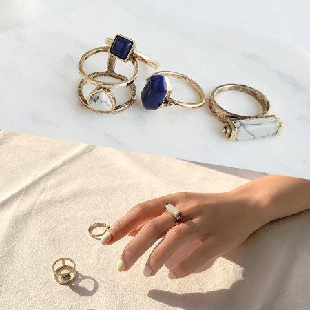 18kgp 써지컬 여성 반지 앤틱젬스톤 레이어드 심플