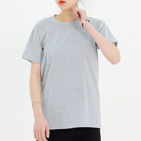 여자 빅사이즈 라운드 반팔 면 티셔츠