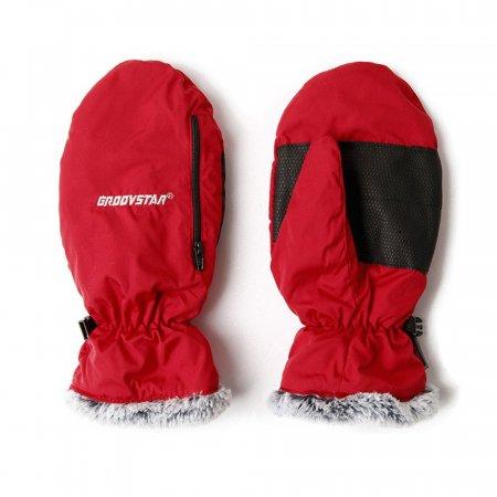 여자 겨울 방한 방수 장갑 핫팩 벙어리털장갑 레드