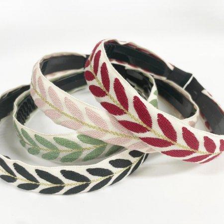여성 헤어밴드 나뭇잎 패턴 머리띠