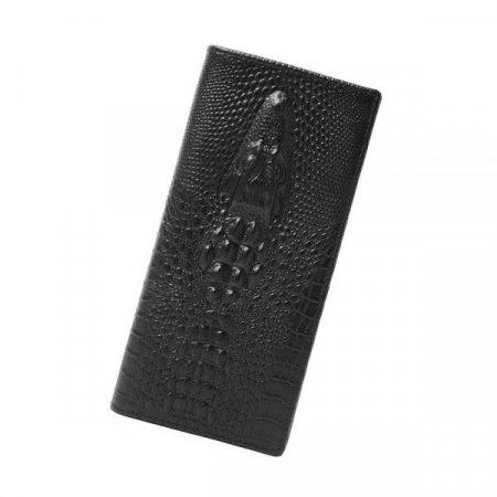 크로커다일무늬장지갑블랙아버지선물남성지갑