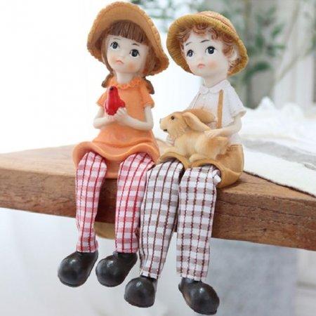 장식품 앉아있는 소년소녀 2세트 조각상 인형소품