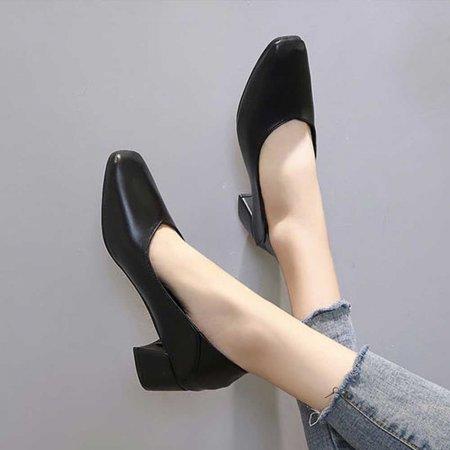 여자 면접 구두 연말 모임 정장 낮은굽 사각콕 신발