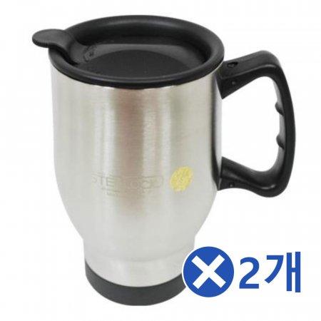 손잡이 뚜껑 스텐머그컵 400mlx2개 캠핑컵 보온머그컵