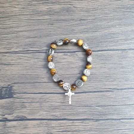 예쁜 카톨릭 패션 소품 베네딕트 십자가 묵주 팔찌