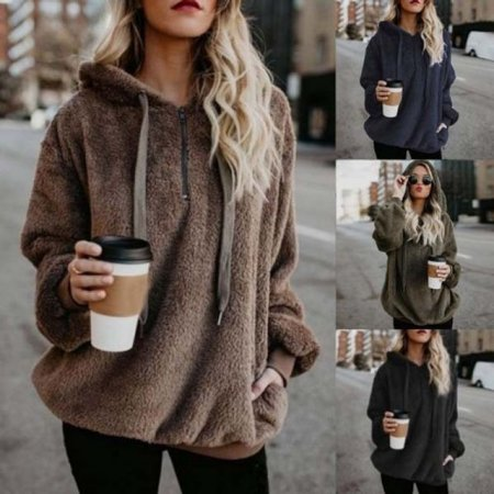 여성 캐주얼 따뜻 하프 집업 양털 뽀그리 후드 티셔츠