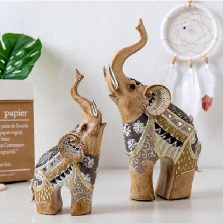 코끼리조각상2P세트 선반 장식품 인형소품 빈티지