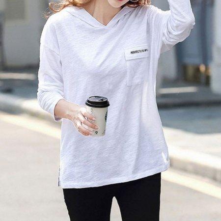 여성 가을 간절기 주머니 포인트 긴팔 후드 면 티셔츠