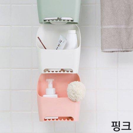 수납 걸이 용품 다용도 욕실 정리 화장실 선반 핑크