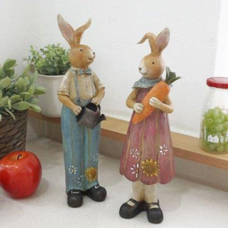 토끼장식품 2P세트 선반 인형소품 조형 조각상 빈티지