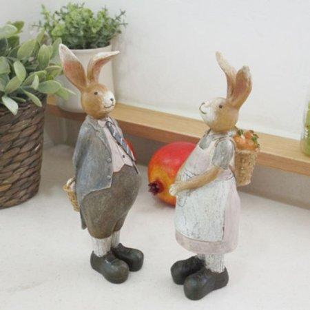 토끼조각상2P세트(소) 선반 장식품 빈티지 인형소품