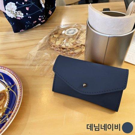 커플 명함 카드 보관 홀더 미니 가죽 지갑 네이비